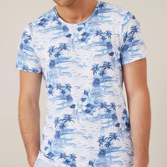 PALM PRINT T-SHIRT  BLUE BLUE/WHITE  hi-res