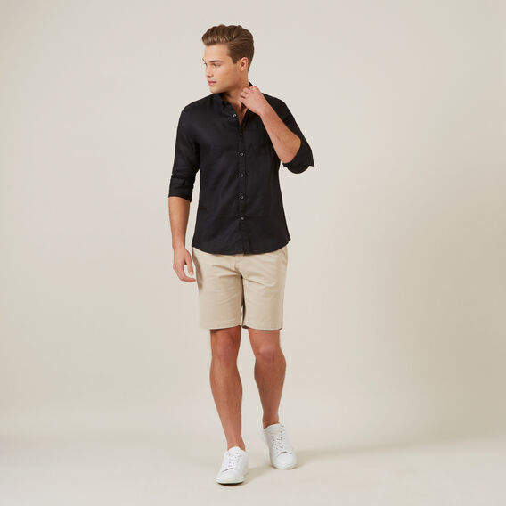 LINEN L/S CLASSIC FIT SHIRT  BLACK  hi-res