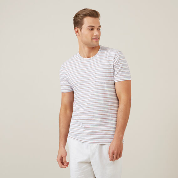 THIN MULTI STRIPE T-SHIRT  OFF WHITE  hi-res