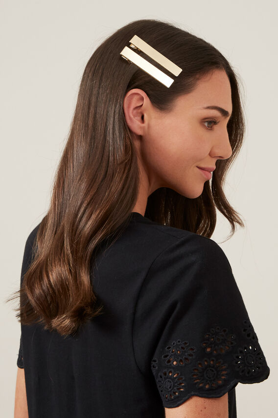 GOLD SLIDE HAIR CLIPS  GOLD  hi-res
