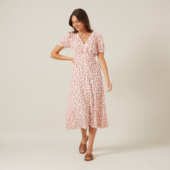 FLORAL MIDI DRESS  WASHED RED/OFF WHITE  hi-res