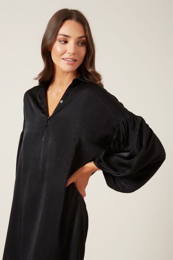 BALLOON SLEEVE SHIFT DRESS  BLACK  hi-res