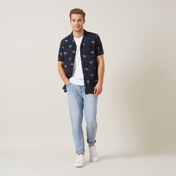 CHEETAH S/S CLASSIC FIT SHIRT  WASHED NAVY  hi-res