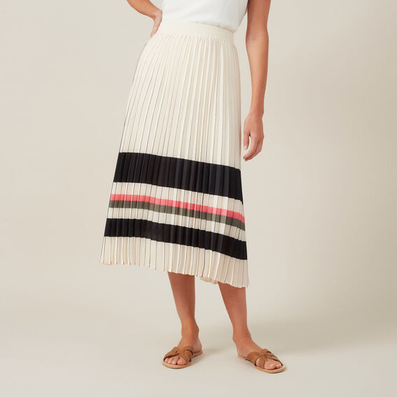 STRIPE PLEATED MIDI SKIRT  MULTI  hi-res