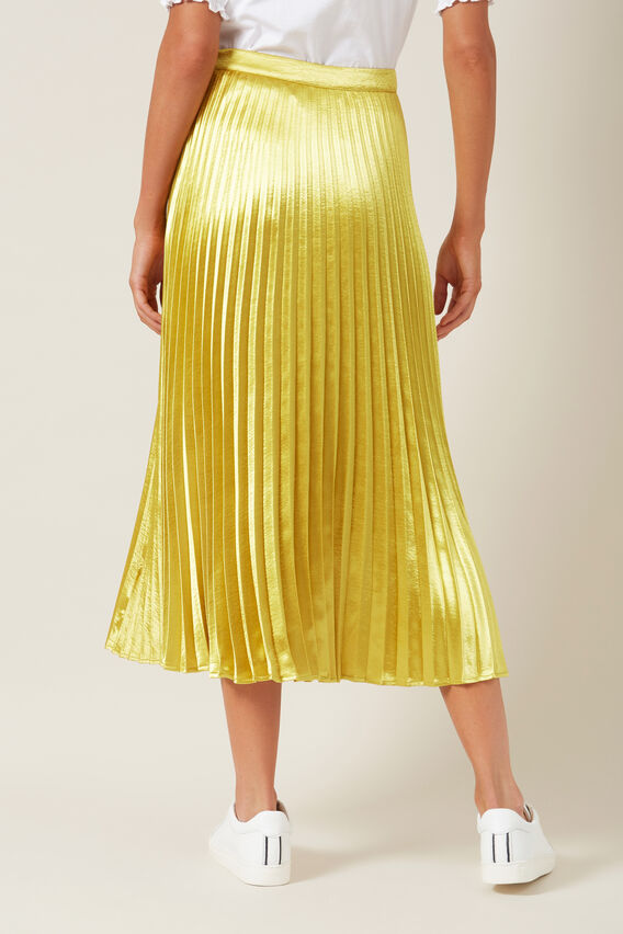 METALLIC PLEATED SKIRT  METALLIC YELLOW  hi-res