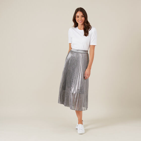 SILVER METALLIC PLEATED SKIRT  SILVER  hi-res