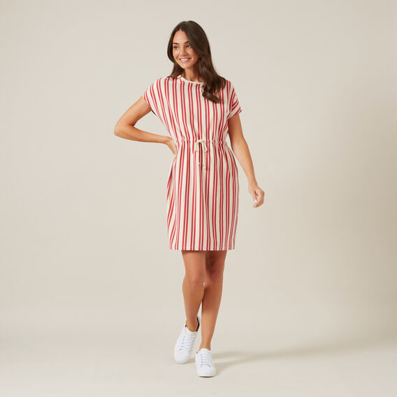 STRIPE TIE UP JERSEY DRESS  WASHED RED/OFF WHITE  hi-res