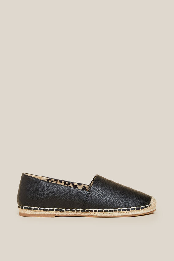 TEXTURED ESPADRILLE   BLACK  hi-res