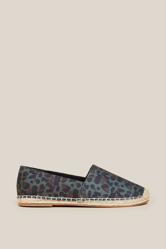 KHAKI ANIMAL ESPADRILLE  KHAKI/ANIMAL  hi-res