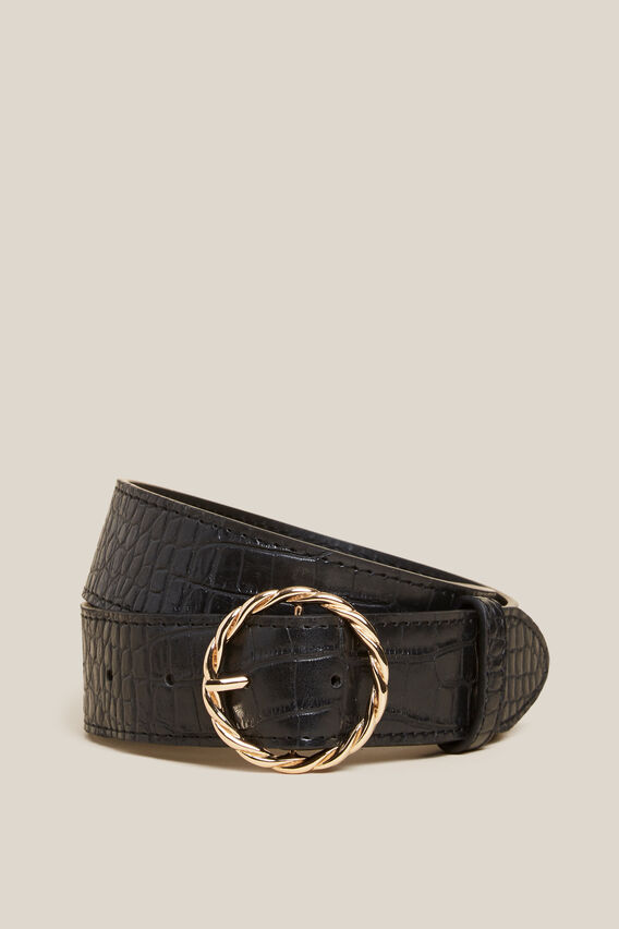CIRCLE CROC BELT  BLACK/GOLD  hi-res