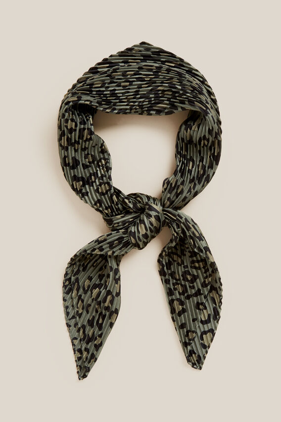 ANIMAL PLEATED SCARF   KHAKI  hi-res