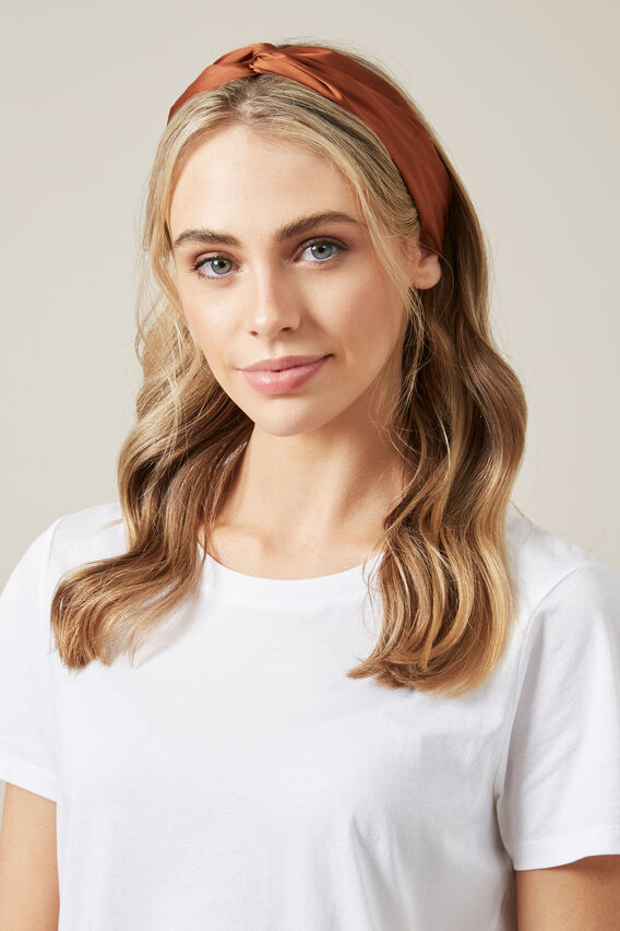 SATIN HEADBAND   TOFFEE  hi-res