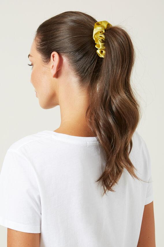 VELVET HAIR SCRUNCHIE   YELLOW  hi-res