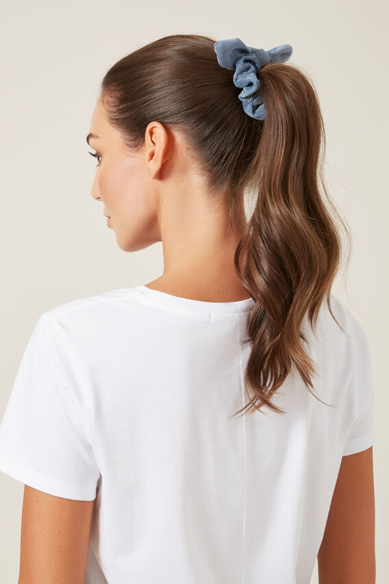 CORD HAIR SCRUNCHIE   WASHED BLUE  hi-res