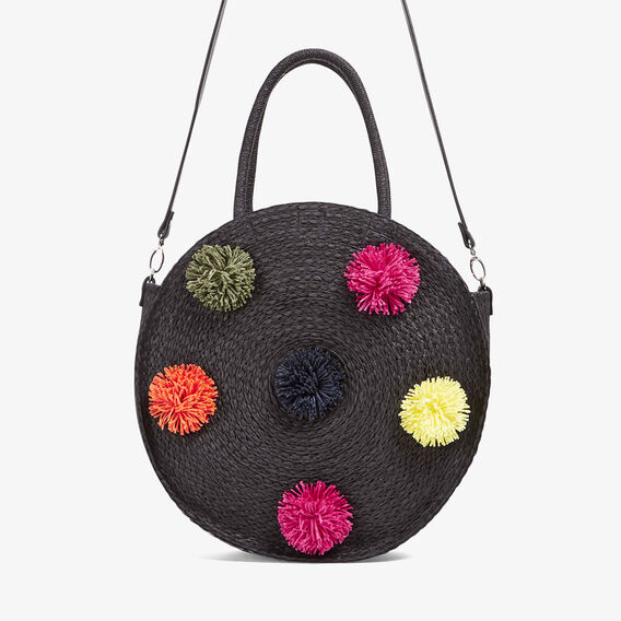 POM POM ROUND STRAW BAG  BLACK/MULTI  hi-res