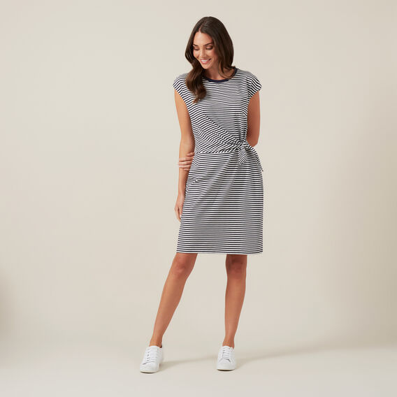TIE FRONT JERSEY DRESS  NAVY/WHITE  hi-res