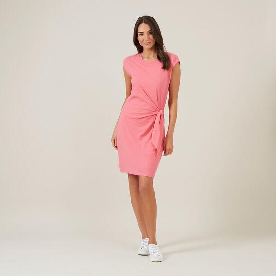TIE FRONT JERSEY DRESS  BRIGHT PINK  hi-res