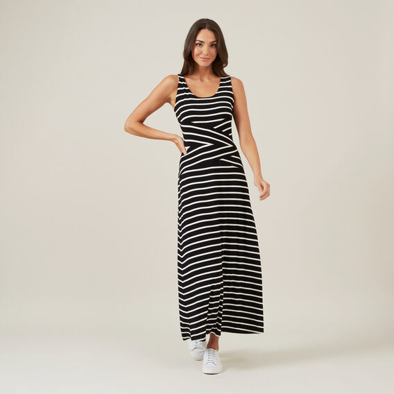 STRIPE JERSEY MAXI DRESS  BLACK/WHITE  hi-res