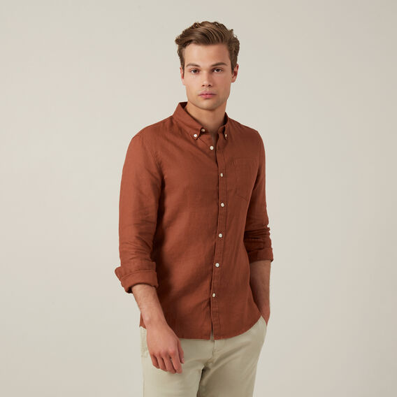 LINEN L/S CLASSIC FIT SHIRT  RUST  hi-res