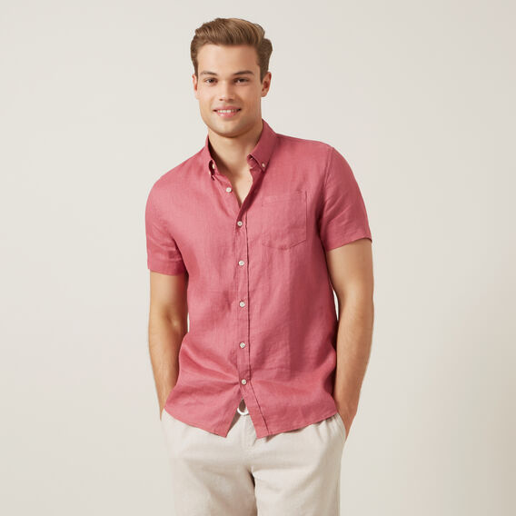 LINEN S/S CLASSIC FIT SHIRT  WASHED BERRY  hi-res