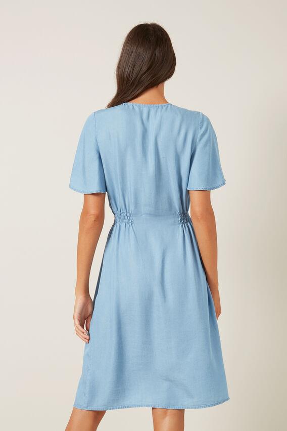 BUTTON THROUGH CHAMBRAY DRESS  CHAMBRAY  hi-res