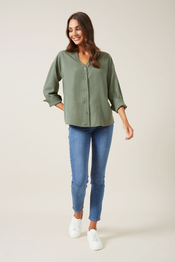 OVERDYED RELAXED SHIRT  KHAKI  hi-res