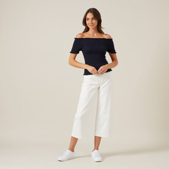 OFF SHOULDER SHIRRED BANDEAU  NAVY  hi-res