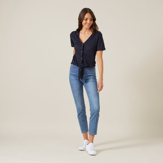 TIE FRONT LINEN TOP  NAVY  hi-res