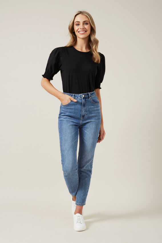 PUFF SLEEVE SHIRRED T-SHIRT  BLACK  hi-res