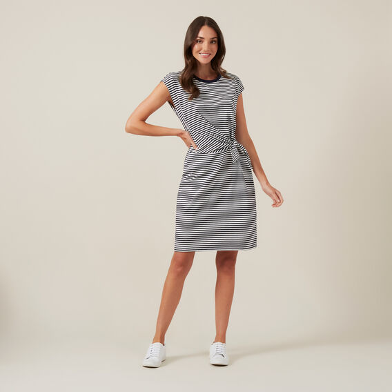 TIE FRONT JERSEY DRESS  NAVY/WHITE  hi-res