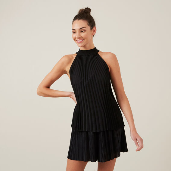HIGH NECK PLEATED TOP  BLACK  hi-res