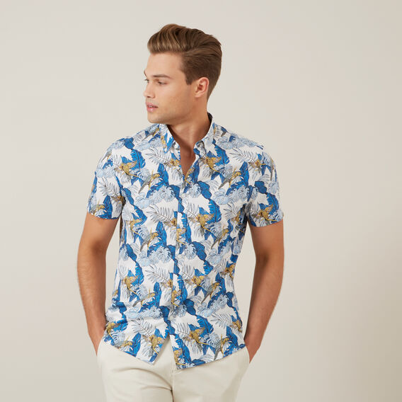 PARROT LEAF S/S CLASSIC FIT SHIRT  WHITE  hi-res