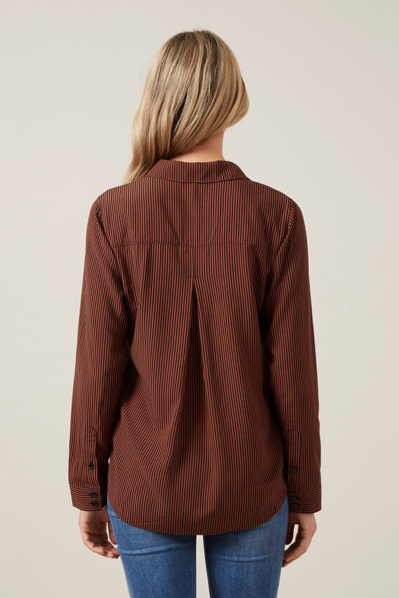 SOFT ESSENTIAL SHIRT  RUST/BLACK  hi-res