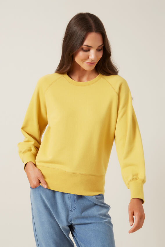 RAGLAN BIG SLEEVE SWEAT  WASHED YELLOW  hi-res
