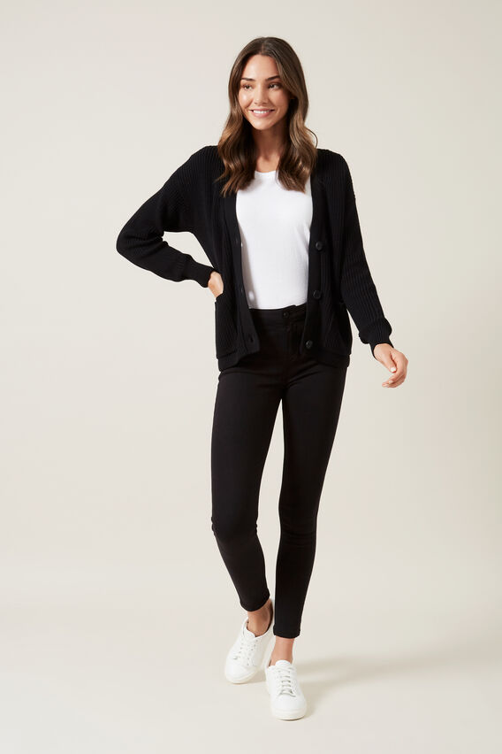 RIBBED CARDIGAN  BLACK  hi-res
