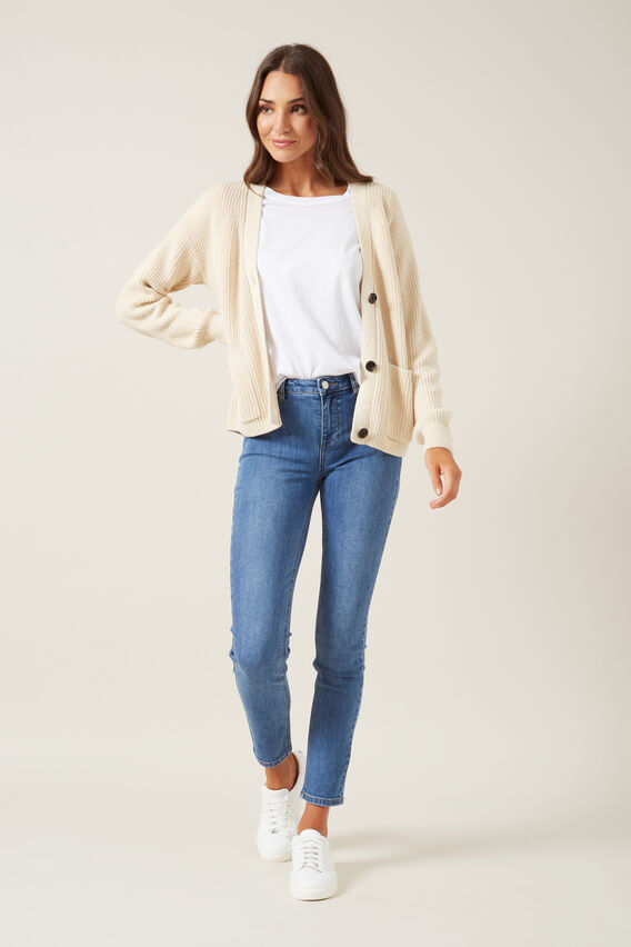 RIBBED CARDIGAN  OATMEAL  hi-res