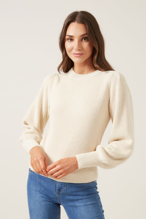 FULL SLEEVE KNIT  OATMEAL  hi-res