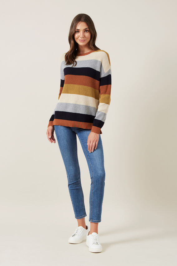 CREW NECK STRIPE KNIT  MULTI  hi-res