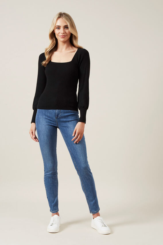 SQUARE NECK BALLOON SLEEVE KNIT  BLACK  hi-res