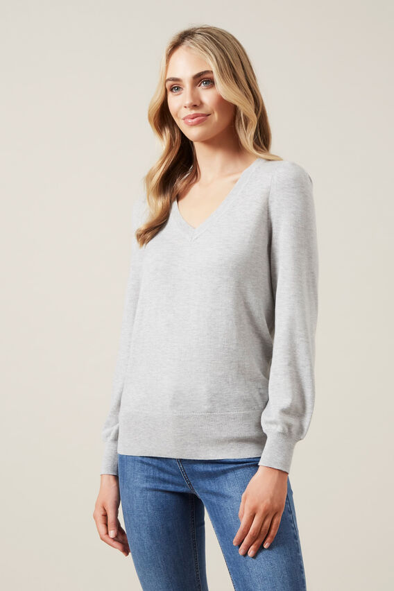PUFF SLEEVE V-NECK KNIT  SOFT GREY  hi-res