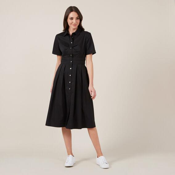 FULL SKIRT SHIRT DRESS  BLACK  hi-res