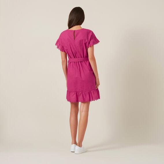 LINEN WRAP DRESS  PINK  hi-res