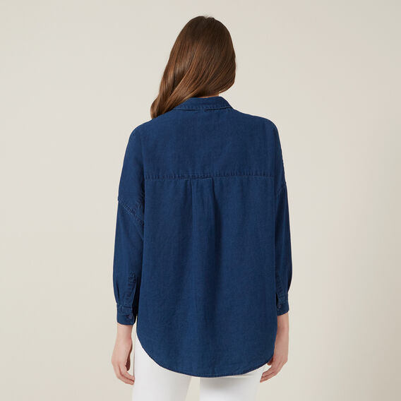 BUTTON THROUGH POCKET SHIRT  WASHED BLUE  hi-res