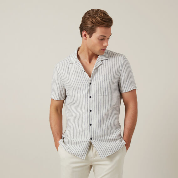 STRIPE LINEN CLASSIC FIT SHIRT  OATMEAL STRIPE  hi-res