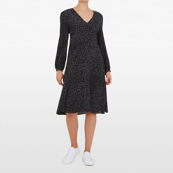 MONOCHROME ANIMAL PRINT DRESS  BLACK CHARCOAL  hi-res