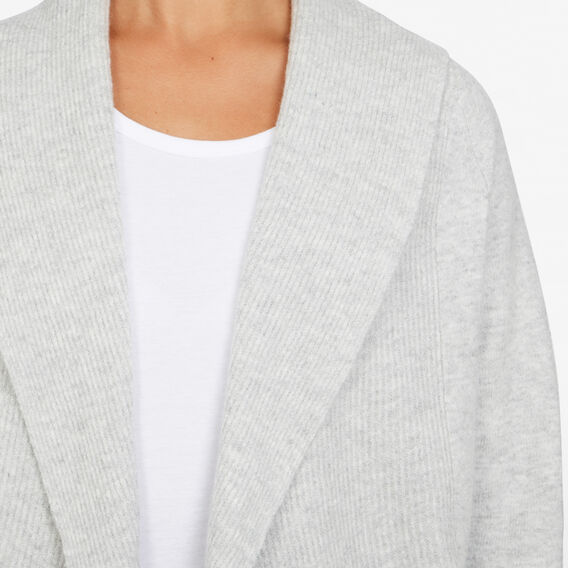 DRAPED SOFT CARDIGAN  SOFT GREY  hi-res