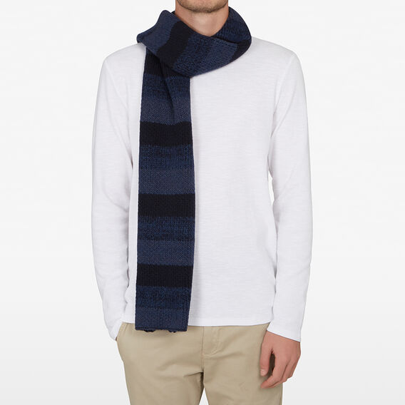 STRIPE KNITTED SCARF  BLUE STRIPE  hi-res