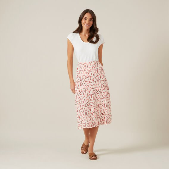 FLORAL BUTTON DOWN SKIRT  RED FLORAL  hi-res