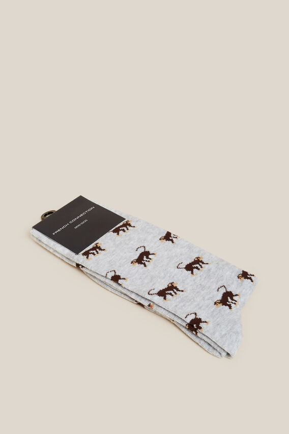 MONKEY 1PK SOCKS  GREY MARL  hi-res