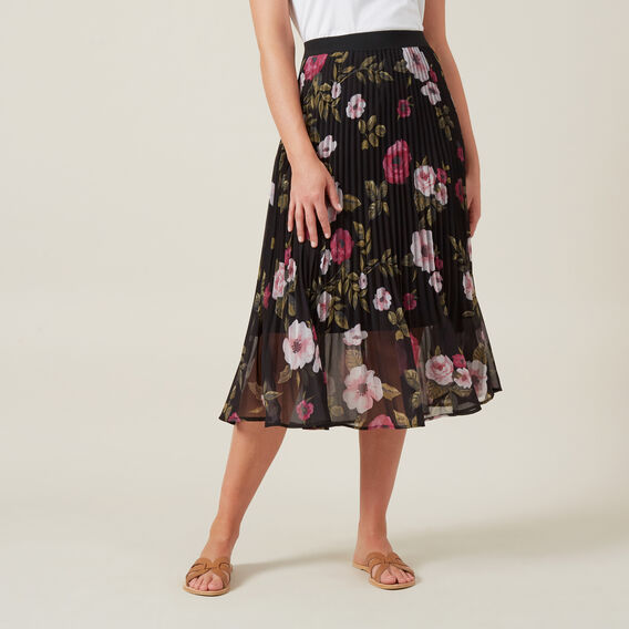 FLORAL PLEATED MIDI SKIRT  MULTI  hi-res